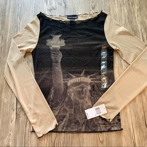 NWT DKNY Jeans Statue Of Liberty Sheer Blouse Sz L